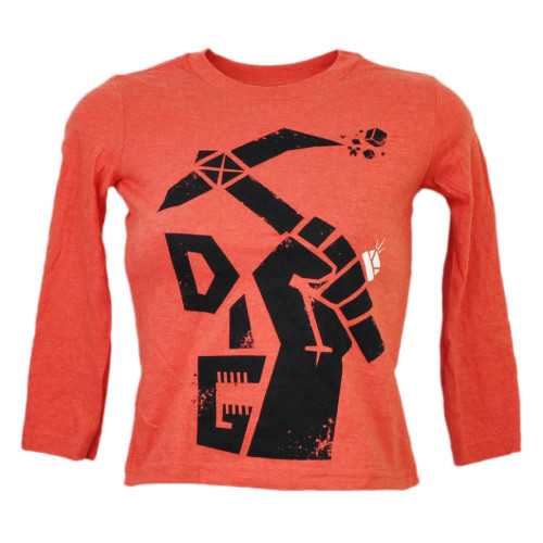 Minecraft Dig Video Game Kids Long Sleeve Graphic Tshirt Tee Red Black Build