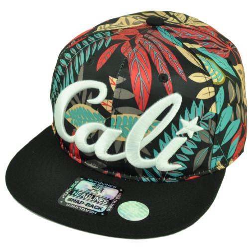 4db1407d258 Cali California Hawaiian Floral Crown Black Flat Brim Hat Cap Snapback  Satin Red