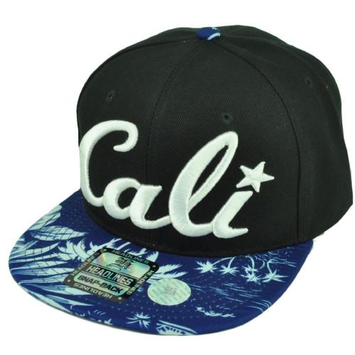 ede3b60924326 Cali California 3D Hawaiian Floral Flower Brim Hat Cap Snapback BLK Blue  White ...