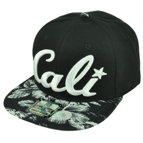 893a35c93d1 Cali California 3D Hawaiian Floral Flower Brim Hat Cap Snapback BLK Palms  White ...