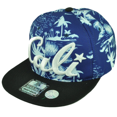 7a59e63c60782 Cali California Hawaiian Floral Crown Black Flat Hat Cap Snapback Satin Blue