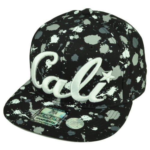 9d1c997a08935 Cali California All Over Paint Splattered Hat Cap Cotton Snapback White  Black