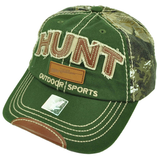 Outdoor Sports Hunt Hunting Distressed Camouflage Relaxed 2 Tone Hat Cap Green