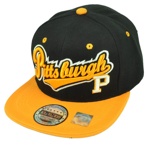 Pittsburgh Steel City Town Black Yellow Skyline Under Visor Snapback Hat Cap b645014e1e77