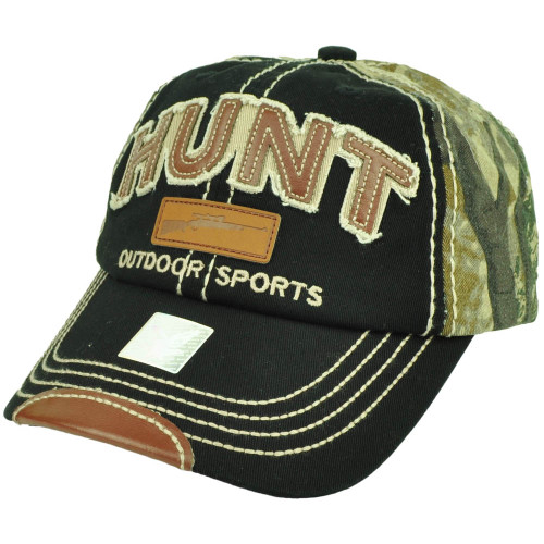 Outdoor Sports Hunt Hunting Distressed Camouflage Relaxed 2 Tone Hat Cap Black