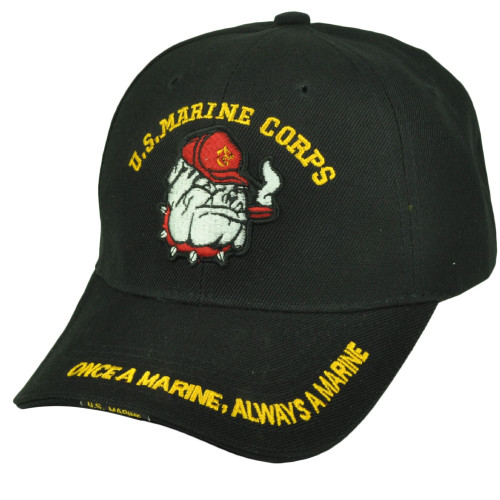 U.S Marines Corps Bulldogs Once a Marine Always a Marine Black Hat Cap Military