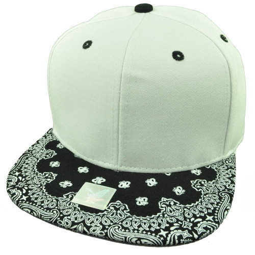 White Black Bandana Print Pattern Flat Bill Hat Cap Snapback Plain Blank Solid