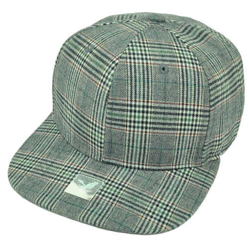 Navy  Plaid Pattern Print Snapback Flat Bill Blank Hat Cap Plain Adjustable