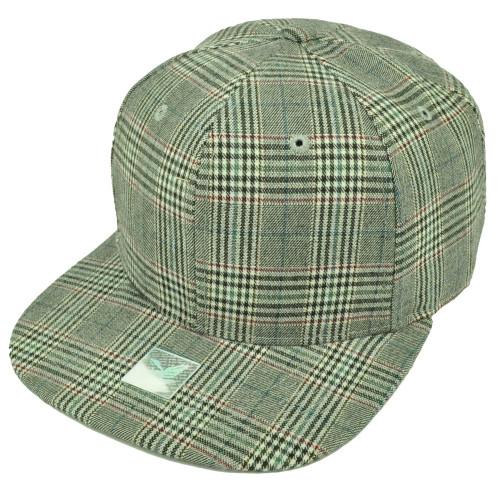 Gray Plaid Pattern Striped Flat Bill Snapback Hat Cap Blank Plain Adjustable