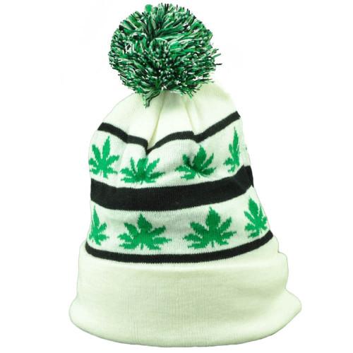 Marijuana White Pom Pom Knit Beanie Cuffed Ganja Rastafari Leaf Weed  Cannabis 2d47b793a9cd