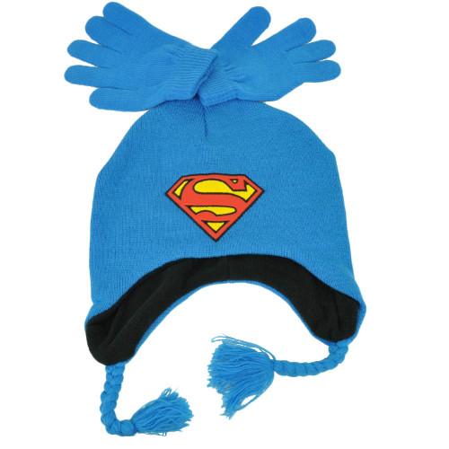 DC Comics Superman Knit & Glove Set Blue Ear Flap Beanie Super Hero Cartoon