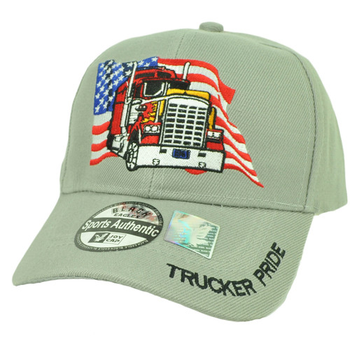 Trucker Pride USA American Flag Gray Hat Cap Curved Bill Adjustable Drivers Road