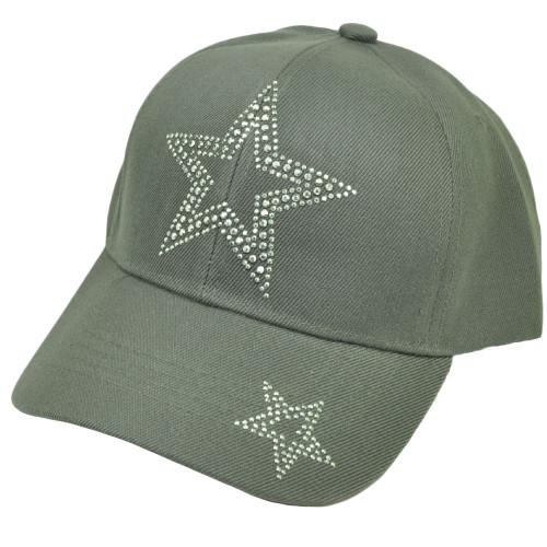 bf4e9e3ca19 Rhinestone Gems Stars Gray Hat Cap Adjustable Acrylic Curved Bill Womens  Headgear ...