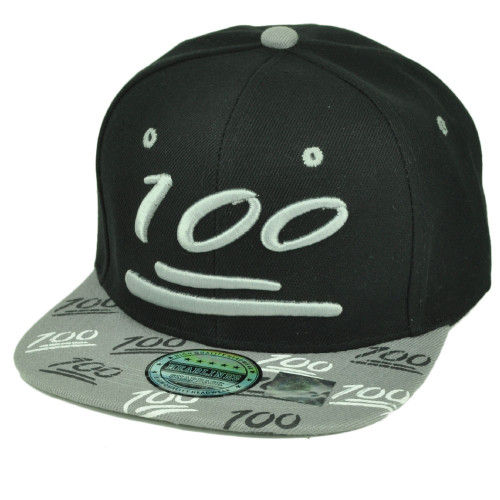 100 One Hundred Emoji Emoticons Symbol Flat Bill Hat Cap Snapback Black Gray