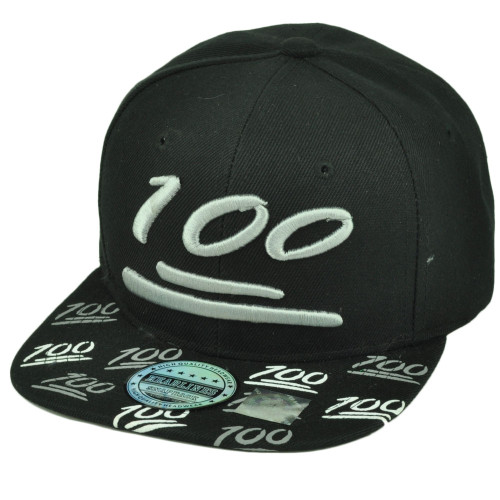 100 One Hundred Emoji Emoticons Symbol Flat Bill Hat Cap Snapback Black Text