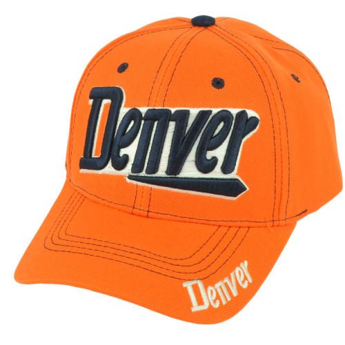 Denver Colorado Headliner Orange Navy Adjustable Curved Bill Baseball Hat Cap