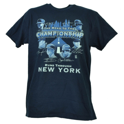 New York Yankees Road to The Championship Player Signatures Tshirt Tee Mens