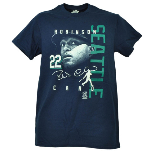 Seattle Mariners Robinson Cano 22 Player Signature Navy Tshirt Tee Short Sleeve