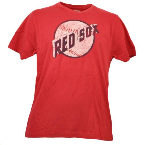 Boston Red Sox Mens Distressed Logo Tshirt Tee Short Sleeve Crew Neck Baseball