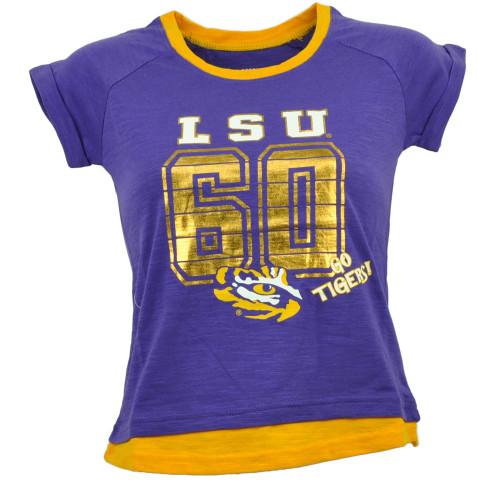 NCAA Colosseum Louisiana State Tigers LSU Youth Purple Tshirt Tee Gold Foil Logo