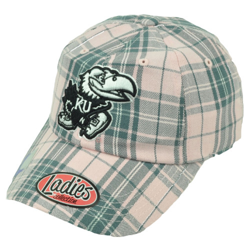 266b0a9c7b179 NCAA Kansas Jayhawks Ladies Womens Plaid Pink Gray Hat Cap Relaxed Slouch KU