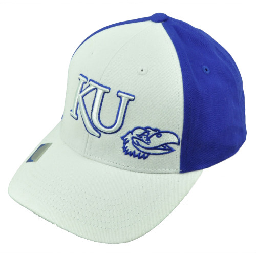 b5bdfee53ba5c NCAA Kansas Jayhawks Royal Blue White 2 Tone Hat Cap Adjustable KU Curved  Bill