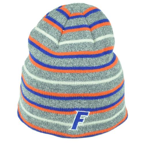 287320287 NCAA Florida Gators UF Knit Beanie Cuffless Striped Gray Orange Blue Hat  Winter