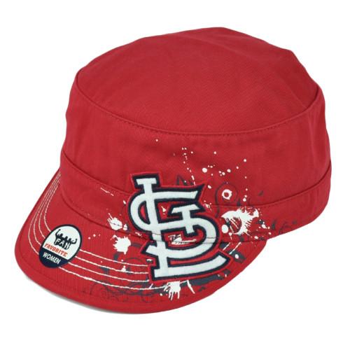 St. Louis Cardinals Womens Cadet Cap Red Military Style Hat Splatter Paint