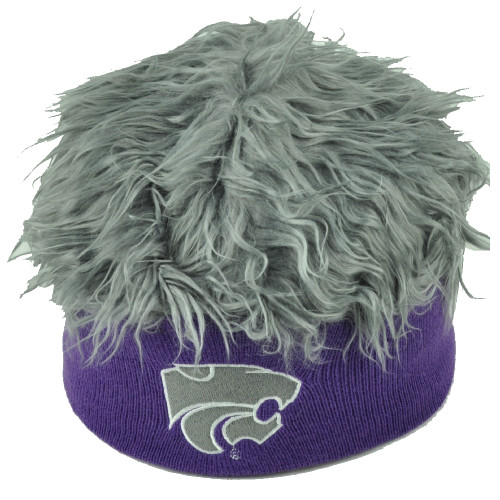NCAA Kansas State Wildcats Sizzle Faux Fur Flair Hair Knit Beanie Gray Purple