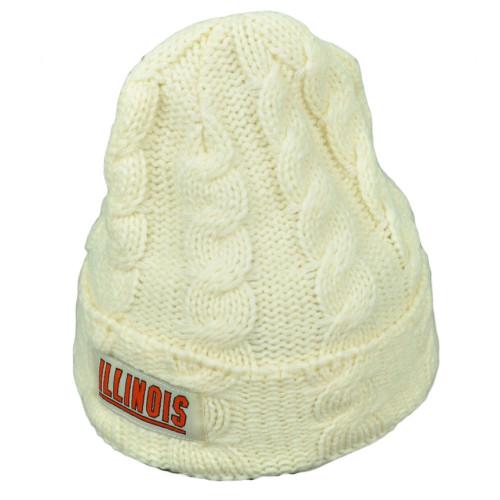 16f00e29eb7 NCAA Illinois Fighting Illini Kiera Women Cuffed Crochet Beanie Knit Cream  Hat