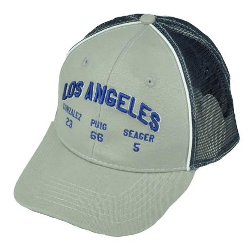 Los Angeles Dodgers Gonzalez 23 Puig 66 Seager 5 Mesh Snaback Hat Cap Gray Blue