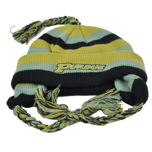 NCAA Purdue Boilermakers Knit Star Striped Ear Flap Tassel Toque Cuffed Beanie