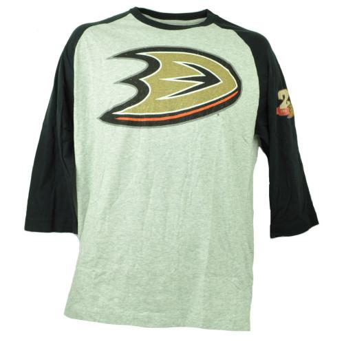 Anaheim Ducks Wright Ditson Hockey Mid Sleeve Tshirt Tee Mens Gray Crew Neck