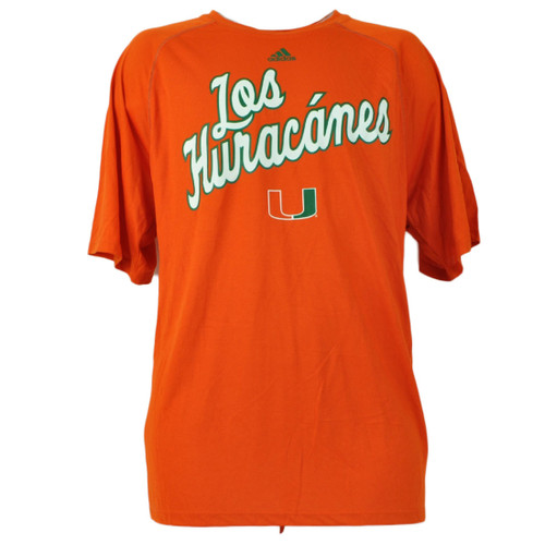 NCAA Miami Hurricanes Los Huracanes Orange Mens Tshirt Tee Canes Crew Neck