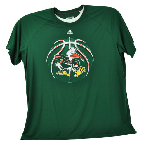 NCAA Miami Hurricanes Basketball Green Mens Tshirt Tee Short Sleeve Crew Neck