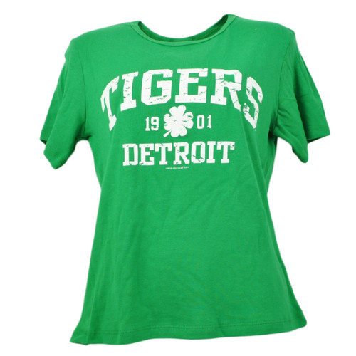 MLB Detroit Tigers Womens Green Tshirt Tee Distressed Short Sleeve 1901 Ladies