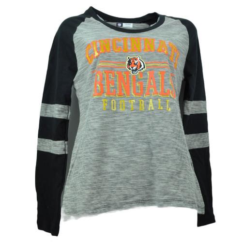 NFL Cincinnati Bengals Striped Black Orange Long Sleeve Womens Tshirt Striped