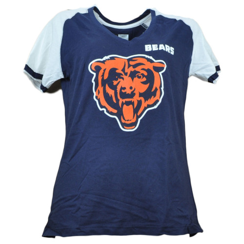 NFL Chicago Bears Womens Navy Blue Tshirt Tee V Neck Short Sleeve Taking Charge