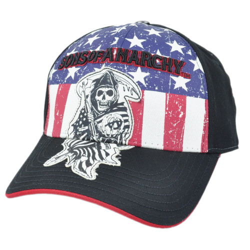 Sons of Anarchy Flex Fit Small Med SOA American Flag Distressed SAMCRO Hat Cap