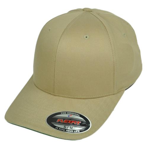 Khaki Blank Plain Solid Color Hat Cap Flex Fit Large XLarge Curved Bill Stretch