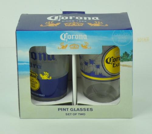 Corona Extra La Cerveza Mas Fina Pub Pint Glasses Set of 2 16oz Beer Cup Drink