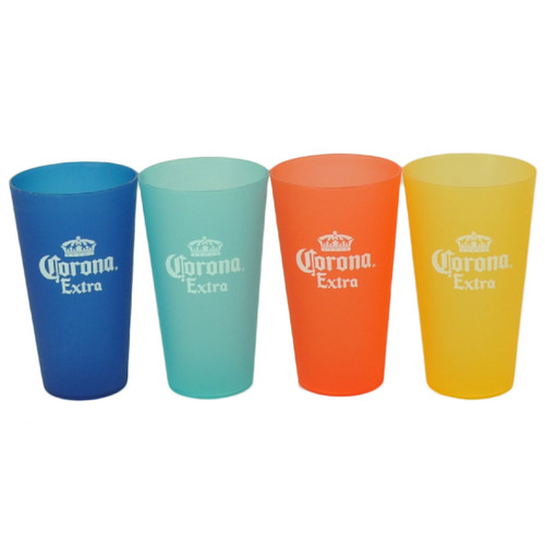 Corona Extra Multi Color Plastic Cup Set of 4 Beverage Drink Cerveza Beer Gift