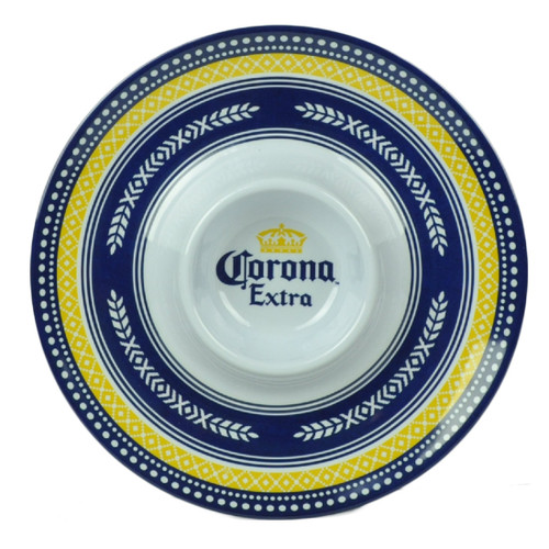 Corona Extra Chips and Dip Bowl Chidip Plate Serving Party Salsa Tortilla Navy
