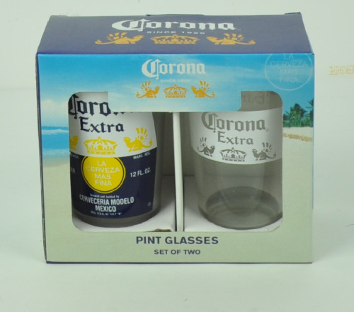 Corona Extra Crown White Band Pub Pint Glasses Set of 2 16oz Beer Cerveza Drink