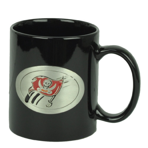 Tampa Bay Buccaneers Black Ceramic Coffee Cup Metal Emblem Mug 15oz Football