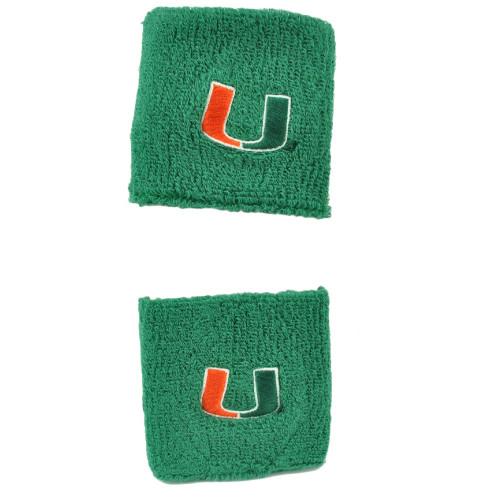 NCAA Miami Hurricanes Canes Green Wrist Sweatband Elastic Gym Sport Game Thick