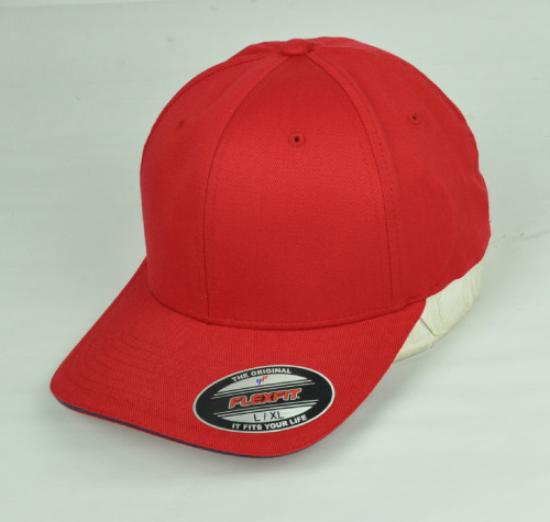 Red Blank Plain Solid Color Hat Cap Flex Fit Large XLarge Curved Bill Stretch