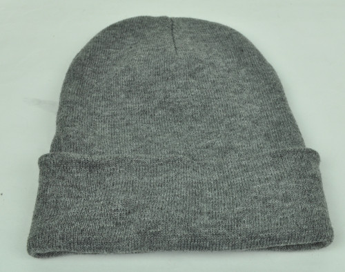 Gray Knit Beanie Cuffed Knit Beanie Toque Blank Plain Winter Hat Skully Thick