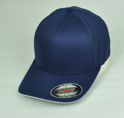 Navy Blank Plain Solid Color Hat Cap Flex Fit Large XLarge Curved Bill Stretch
