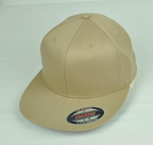 Khaki Blank Plain Solid Color Hat Cap Flex Fit Large XLarge Flat Bill Stretch